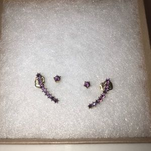 Purple diamond earring set